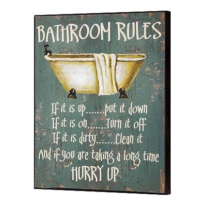Cuarto de baño reglas de madera para pared con texto en inglés ...