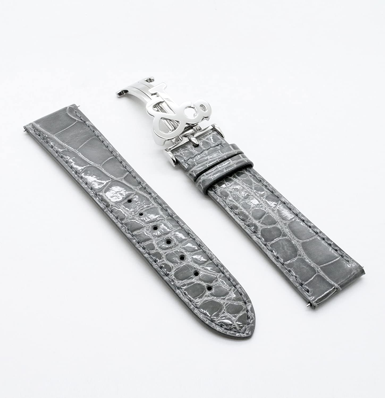 JACOB&Co(ジェイコブ)47mm専用純正交換バンド(クロコダイル)(艶有り)グレー〔ストラップ〕〔新品〕 〔レギュラーサイズ〕※ベルトのみの販売。時計は付属致しません。(Watch is not attached. Belt only) [並行輸入品]  B01LWJPYU3