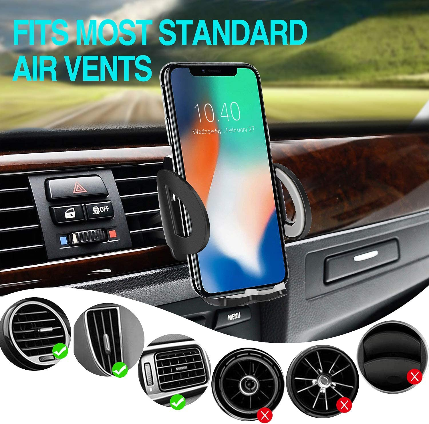 Car Phone Mount Air Vent Cell Phone Holder for Car Compatible with iPhone 11 Pro XS MAX XR X 8 7 6 Plus Samsung Galaxy S10 S9 S8 S7 S6 Note8 9 Google Pixel LG Nexus and Other Android Phones