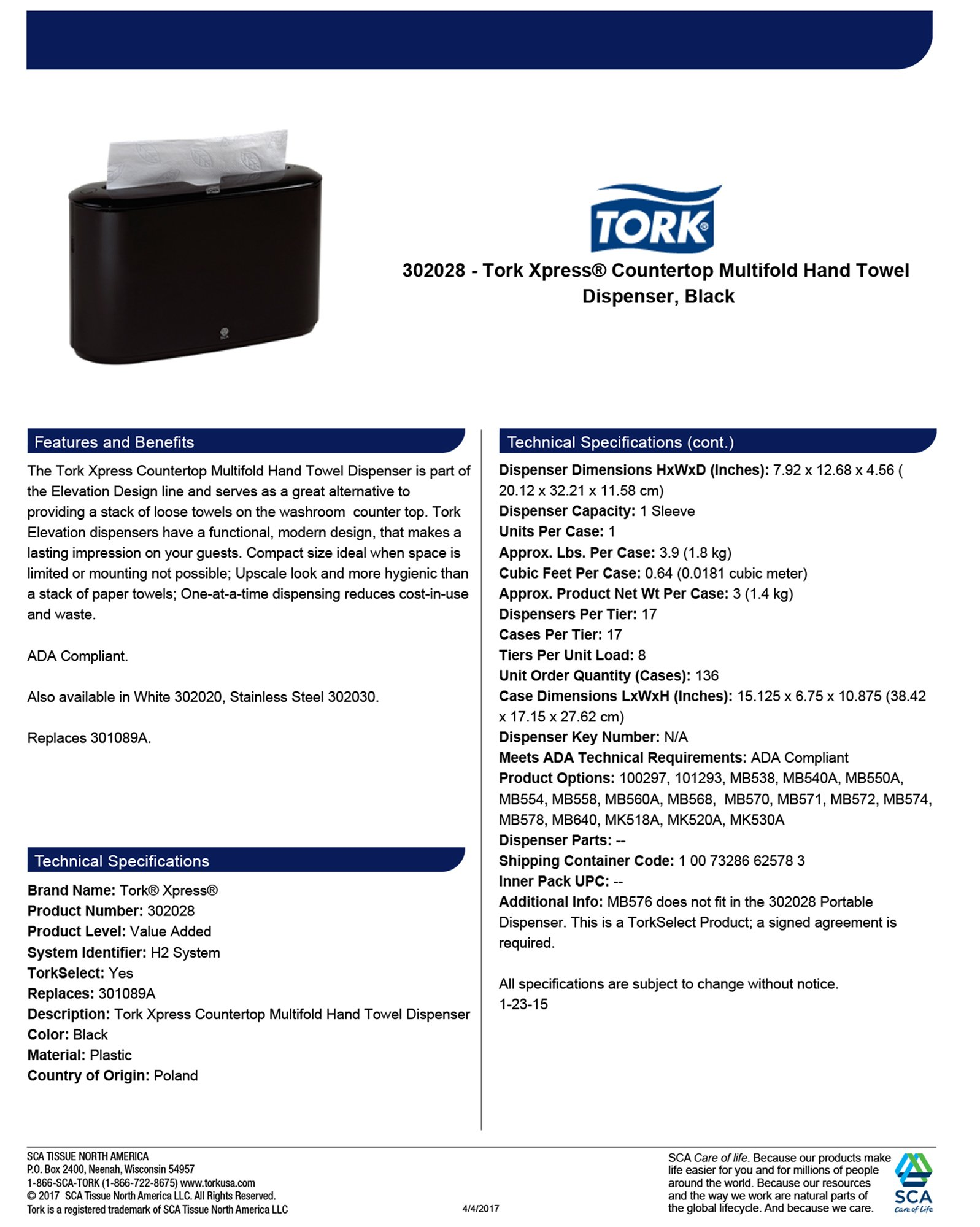 Tork 302028 Xpress Countertop Multifold Hand Towel Dispenser, Plastic, 7.92'' Height x 12.68'' Width x 4.56'' Depth, Black, for use with Tork MB550A, MB640, MB540A, H2/H23 by Tork (Image #4)