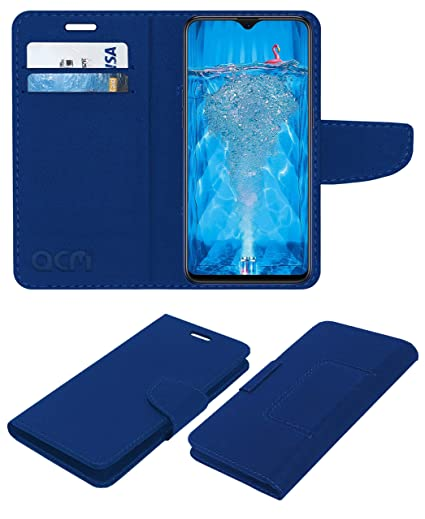 low priced b392a f27f5 Acm Leather Flip Wallet Case for Oppo F9 Pro Mobile Cover Blue