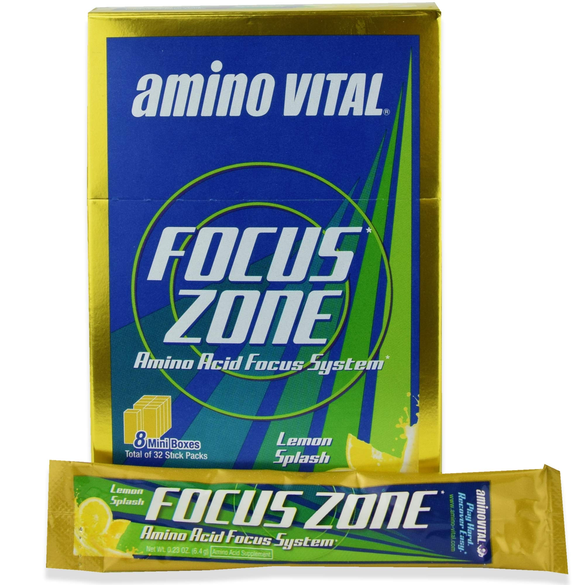 Amino Vital Focus Zone - Amino Acids (BCAAs, Glutamine, Arginine) + Electrolyte Powder Drink Mix, Lemon Splash, 32 x 6.4g Single-Serve Stick Packs, 7.2oz Box