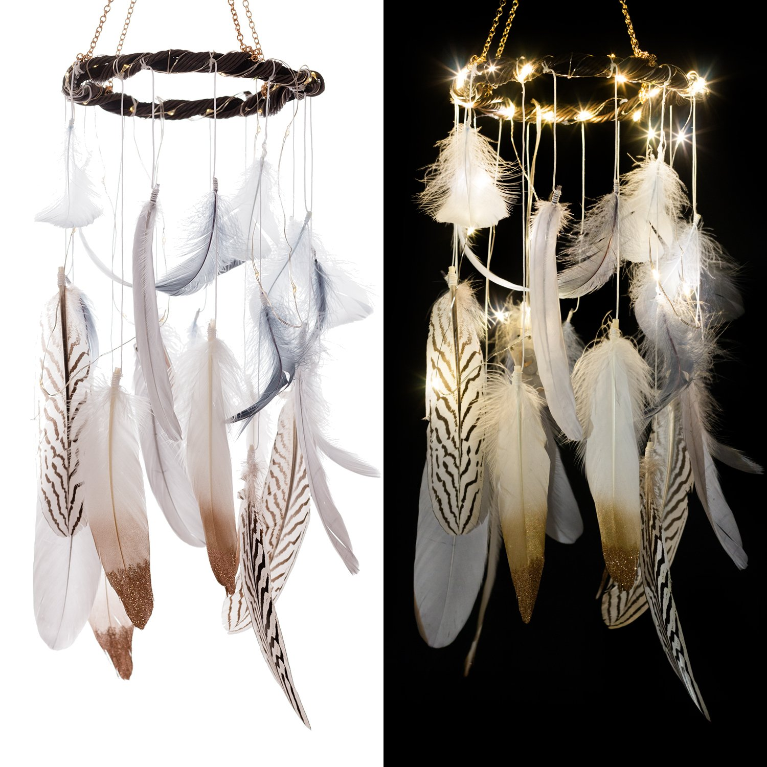 Ling's moment Feather Dream Catcher Mobile LED Fairy Lights Battery Powered Hanging Ornaments with Gold Dipped Glitter Feathers Bohemian Wedding Decorations, Boho Chic, Nursery Decor Ling's moment