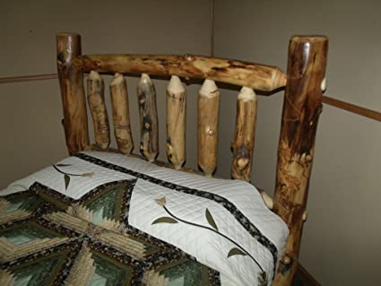 Rustic Aspen Log Bed King Size Mission Style Headboard Only