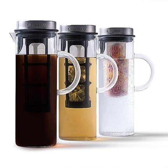 Cold Brew Cafetera de infusiónd e café y té fría - Jarra grande de cristal 1,5L - Jarra helado con tapa de acero inoxidable/filtro de malla fina - Tubo ...