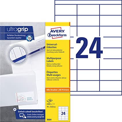 Avery España 3664 - Etiquetas ecológicas, color blanco: Amazon.es ...