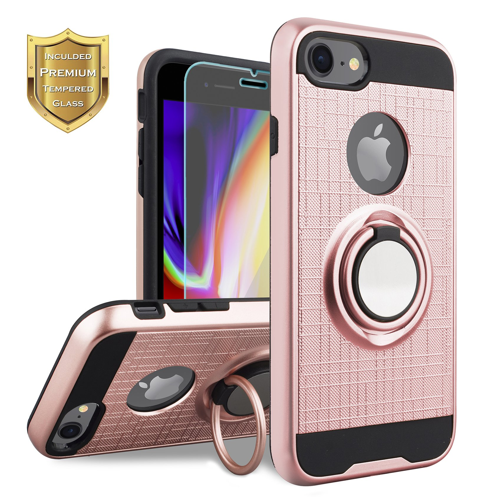 KACHEN Compatible for iPhone 8, iPhone 7, 360 Degree Rotating Ring Grip Kickstand Case [Tempered Screen Glass] Dual Layer Protection Compatible with Magnetic Car Phone Mount, Rose Gold