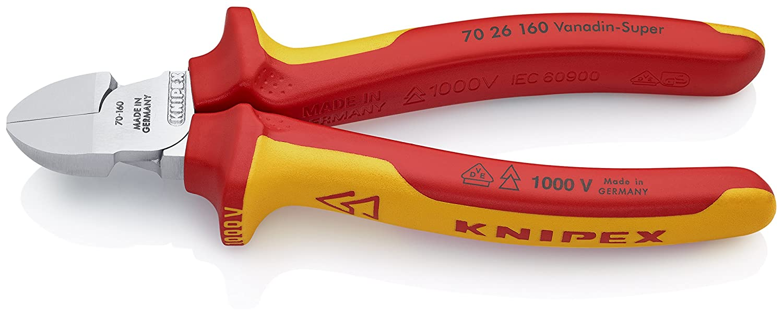 KNIPEX 70 26 160 Alicate de corte diagonal cromado aislados con fundas en dos componentes seg/ún norma VDE 160 mm