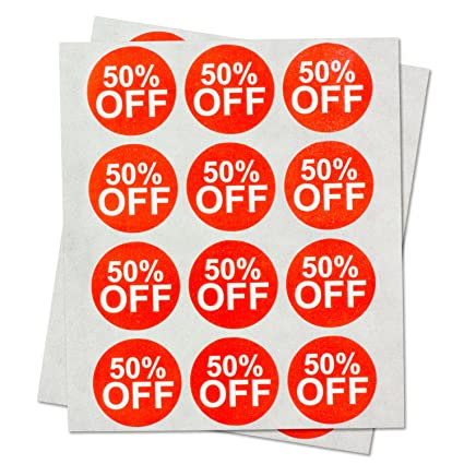 Garage yard sale price stickers labels 50 percent off for retail store clearance