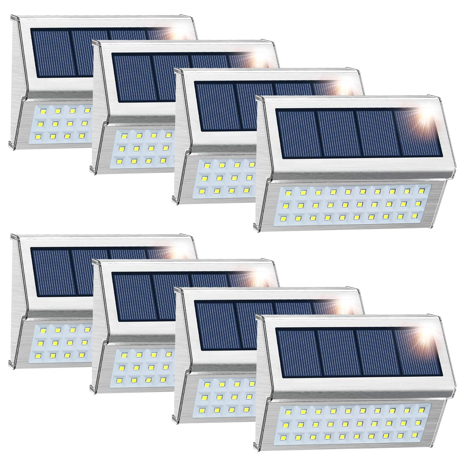 ROSHWEY Solar Deck Lights Outdoor, Waterproof Step Lamps Stainless Steel 30 LED Walkway Security Lights for Garden Fence Patio Pathway (Cool White Light, 8 Pack) by ROSHWEY