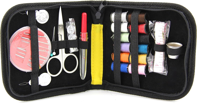 Raylinedo/® Craft DIY Kit de costura con Caja de con cremallera para viaje Botones en varios colores 1 set Morado Home Incluye Agujas//threaders//Mini Tijeras//Pin De Seguridad//Colored Bobinas de Hilo//cinta//Dedales nailon
