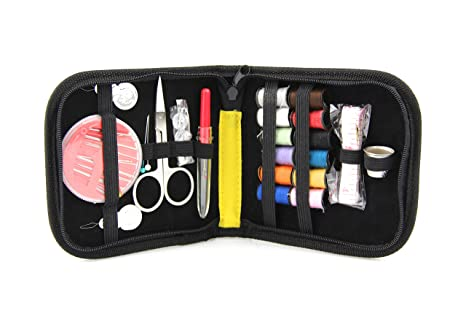 Travel Emergency Use Adults Kids Black elloLife Mini Sewing Kit Accessories Portable Sewing Set with Carrying Case for Home Beginners