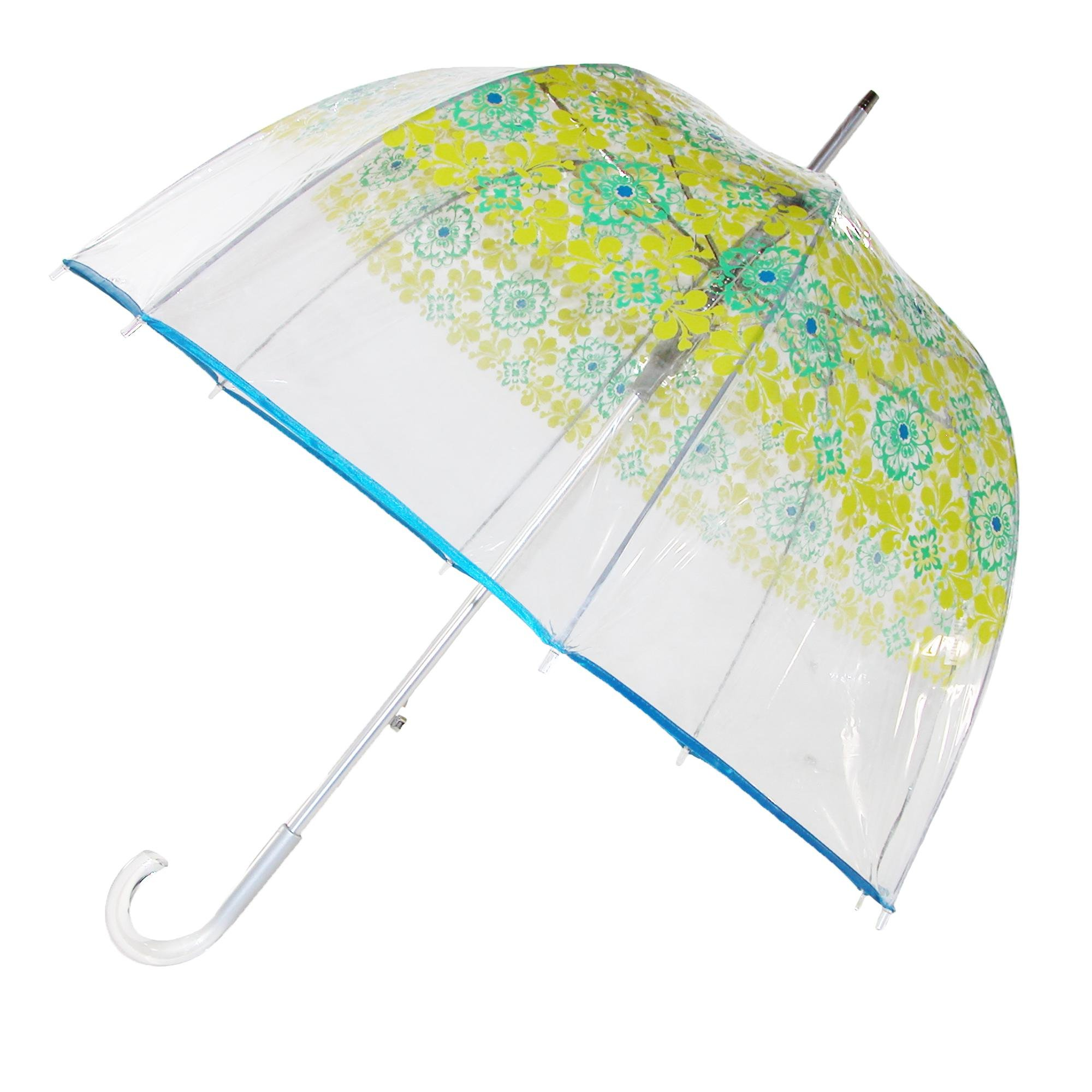 Totes Women's Auto Open Blue Filigree Bubble Stick Umbrella, Multi-Color