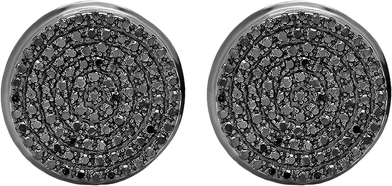 Dazzlingrock Collection - Pendientes de tuerca para hombre (0,40 quilates (ctw), diseño redondo de diamantes negros