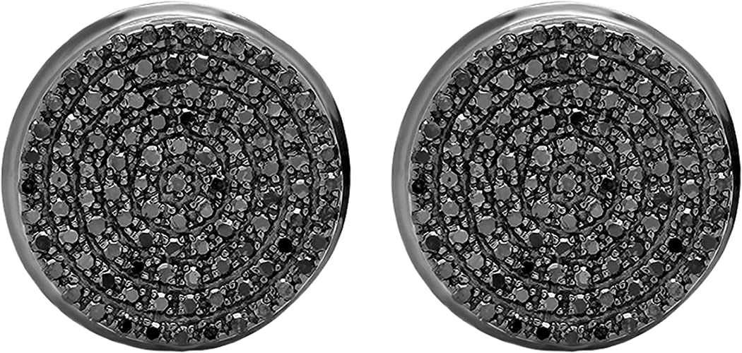 Amazon Com Dazzlingrock Collection 0 40 Carat Ctw Round Black Diamond Micro Pave Hip Hop Mens Stud Earrings Black Plated Sterling Silver Earrings For Men Diamond Clothing