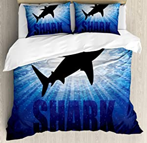 Ambesonne Shark Duvet Cover Set, Underwater Hunter Phrase Fish Silhouette in The Ocean Danger in Marine Picture, Decorative 3 Piece Bedding Set with 2 Pillow Shams, Queen Size, Blue Black
