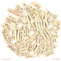 AsianHobbyCrafts Wooden Photo/Paper Clips : Pack of 50 Clips