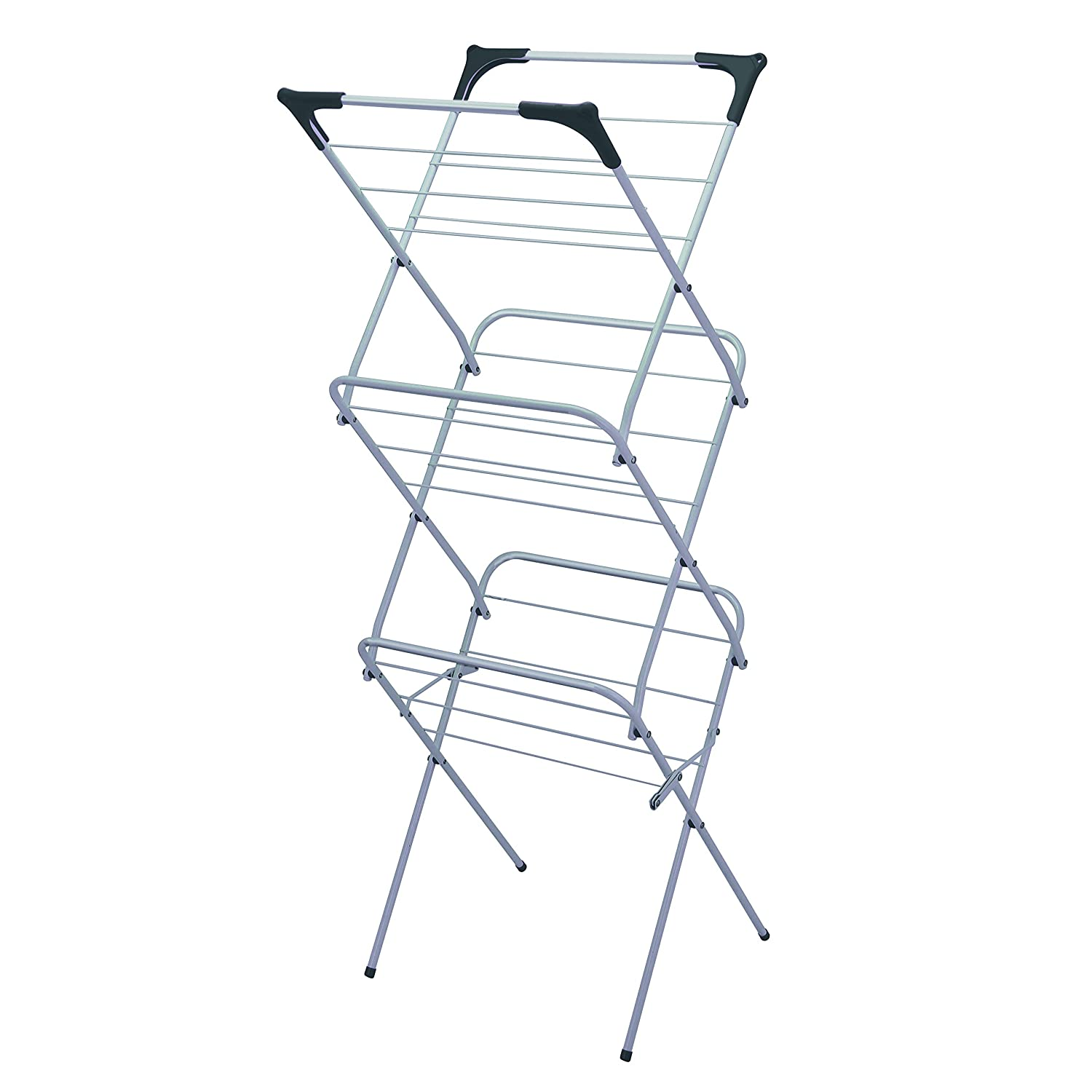 Metal 15 m Indoor and Outdoor Laundry Horse Drying Rack Silver Grey Highlands 3 Tier Space 139x61x44 approx Clothes Airer