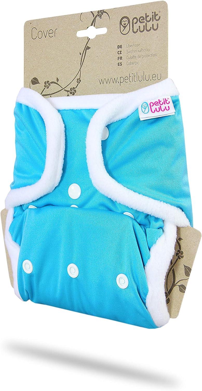 Talla /única pa/ñales de tela reutilizables envoltura de pa/ñales lavable Hecho en Europa 4 /– 15 kg Pa/ñales de tela Petit Lulu   broches azul
