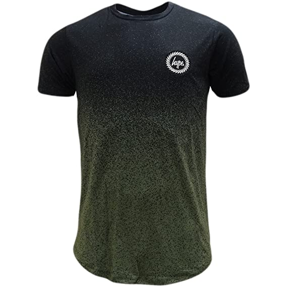 4ca563a8d276 HYPE Khaki/Black Curved Hem Speckled Fade T-Shirt - Khaki Fade:  Amazon.co.uk: Clothing