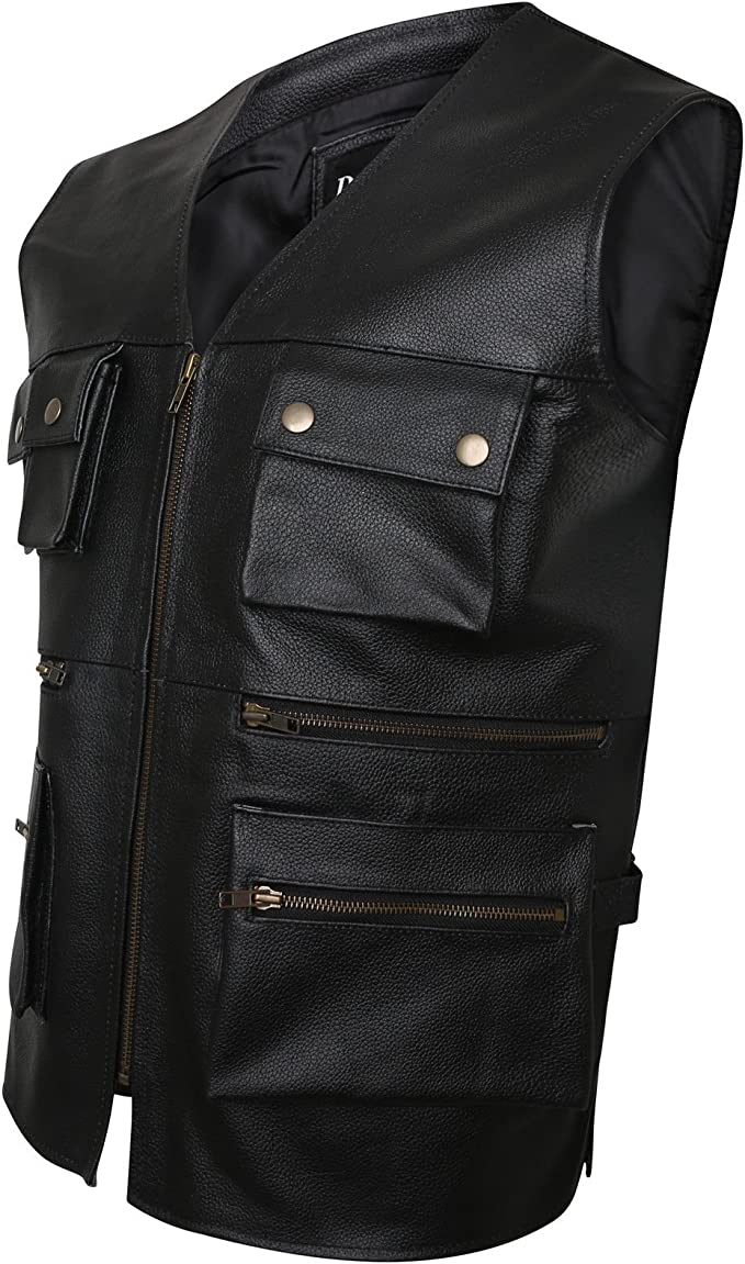 New Mens Biker Motorcycle Multipocket Fishing Jungle Real Leather Waistcoat//Vest