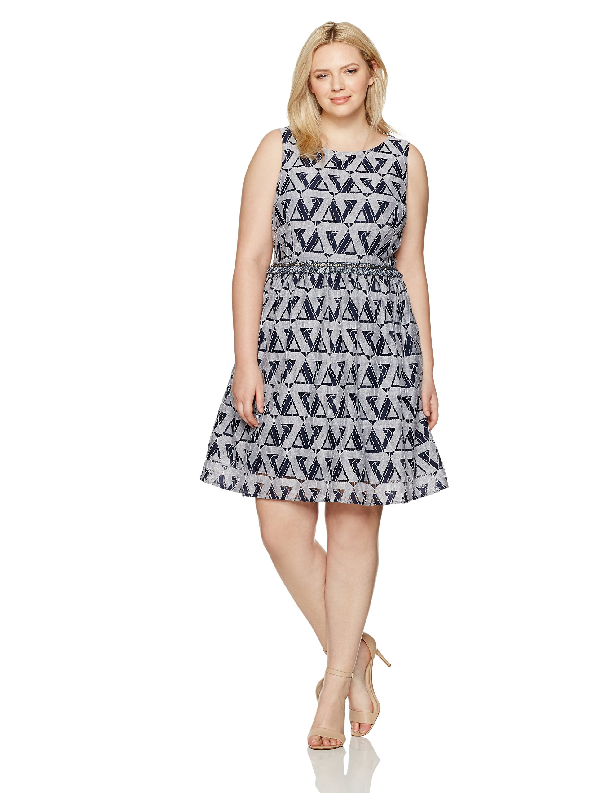 Julia Jordan Women's Plus Size One Piece Round Neck Printed Fit and Flare, Navy/White, 22W by Julia Jordan