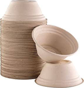 Mini Restaurant-Grade, Biodegradable Small 8Oz Bowls Bulk 50Pk. Great for Ice Cream, Chili or Soup. Disposable, Compostable Bowls are Allergen-Free, Leakproof and Microwave Safe for Hot or Cold Use