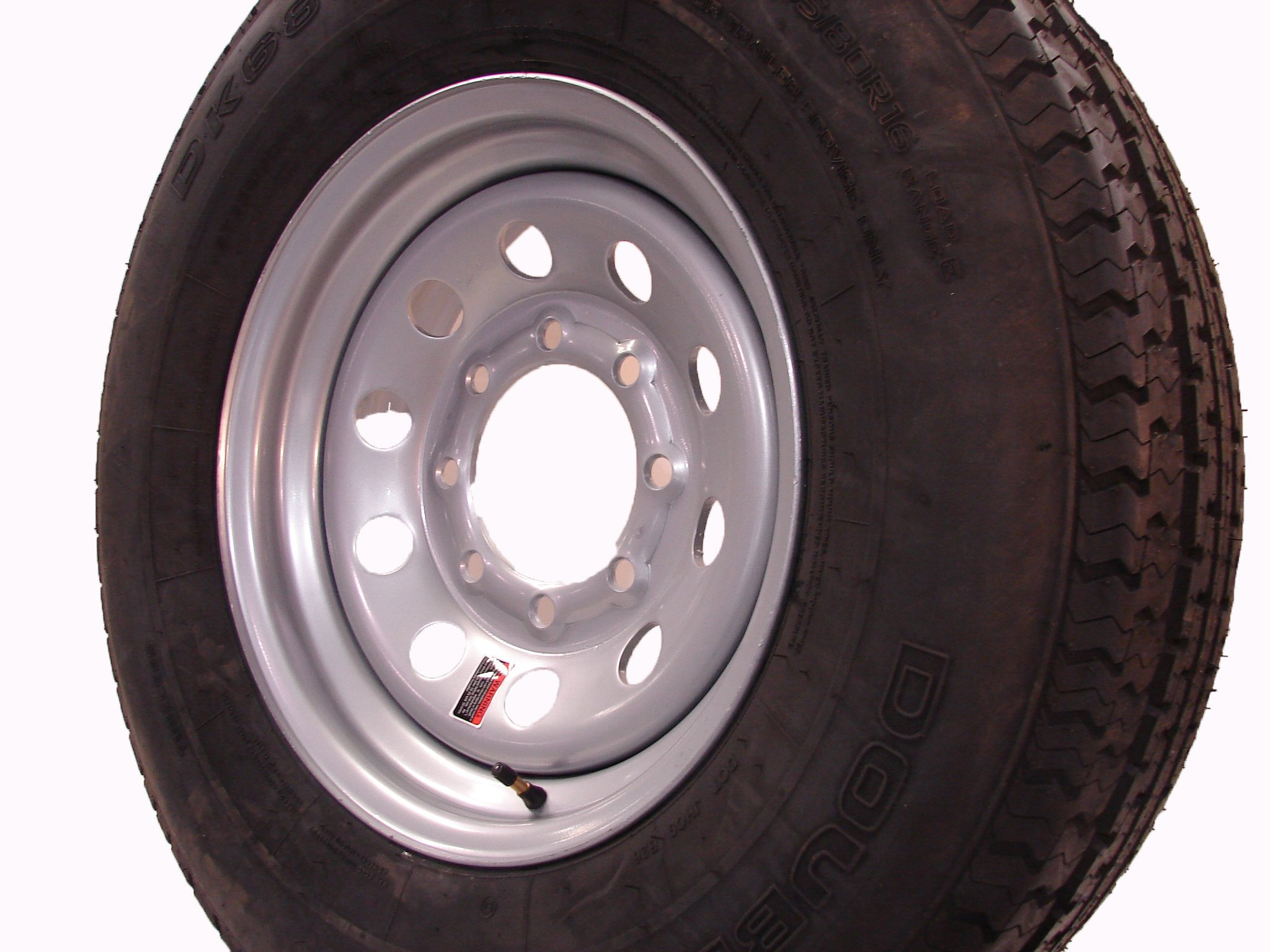 16'' Silver Mod Trailer Wheel 8 Lug with Radial ST235/80R16 Tire Mounted (8x6.5) bolt circle