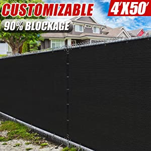 Amgo 4' x 50' Black Fence Privacy Screen Windscreen,with Bindings & Grommets, Heavy Duty for Commercial and Residential, 90% Blockage, Cable Zip Ties Included, (Available for Custom Sizes)