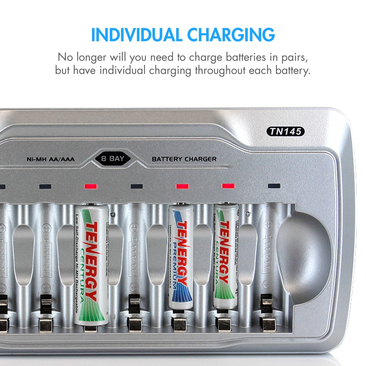 Tenergy Tn145 Aa Aaa Battery Charger 8 Slot Household Simple Nicd Electronic Circuits Cell With Individual Bays And Led Indicators