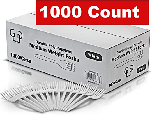 White Green Label Eco Friendly Plastic Forks Medium Weight 1000//Case Disposable,