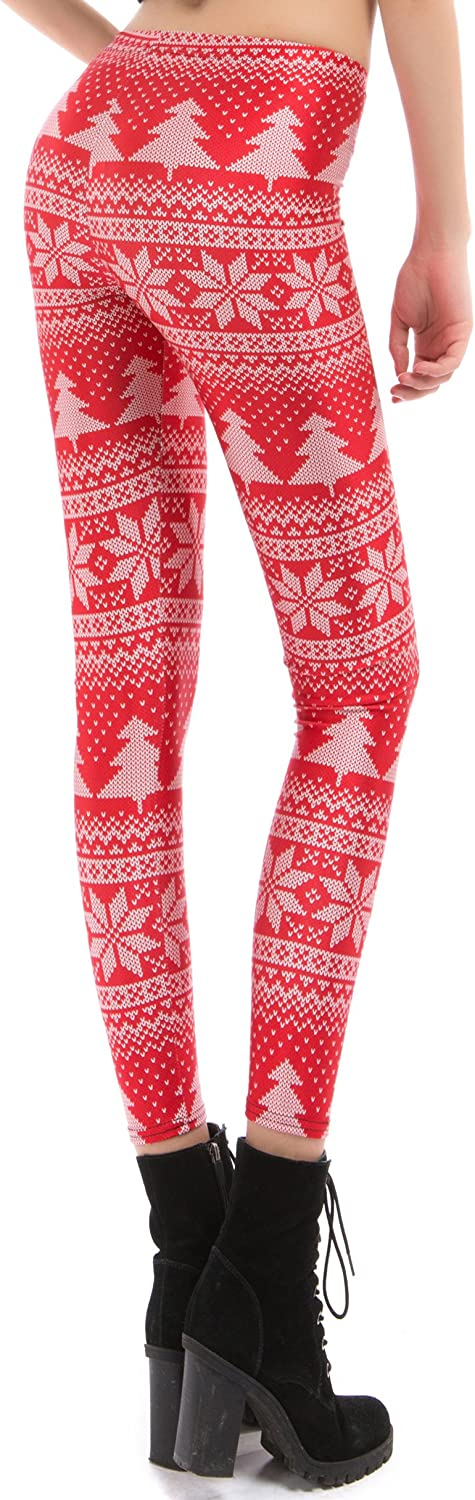 Yoga Pants for Women Ankle Length High Waisted Christmas Tree Jungle Bells Red Soft Workout Leggings