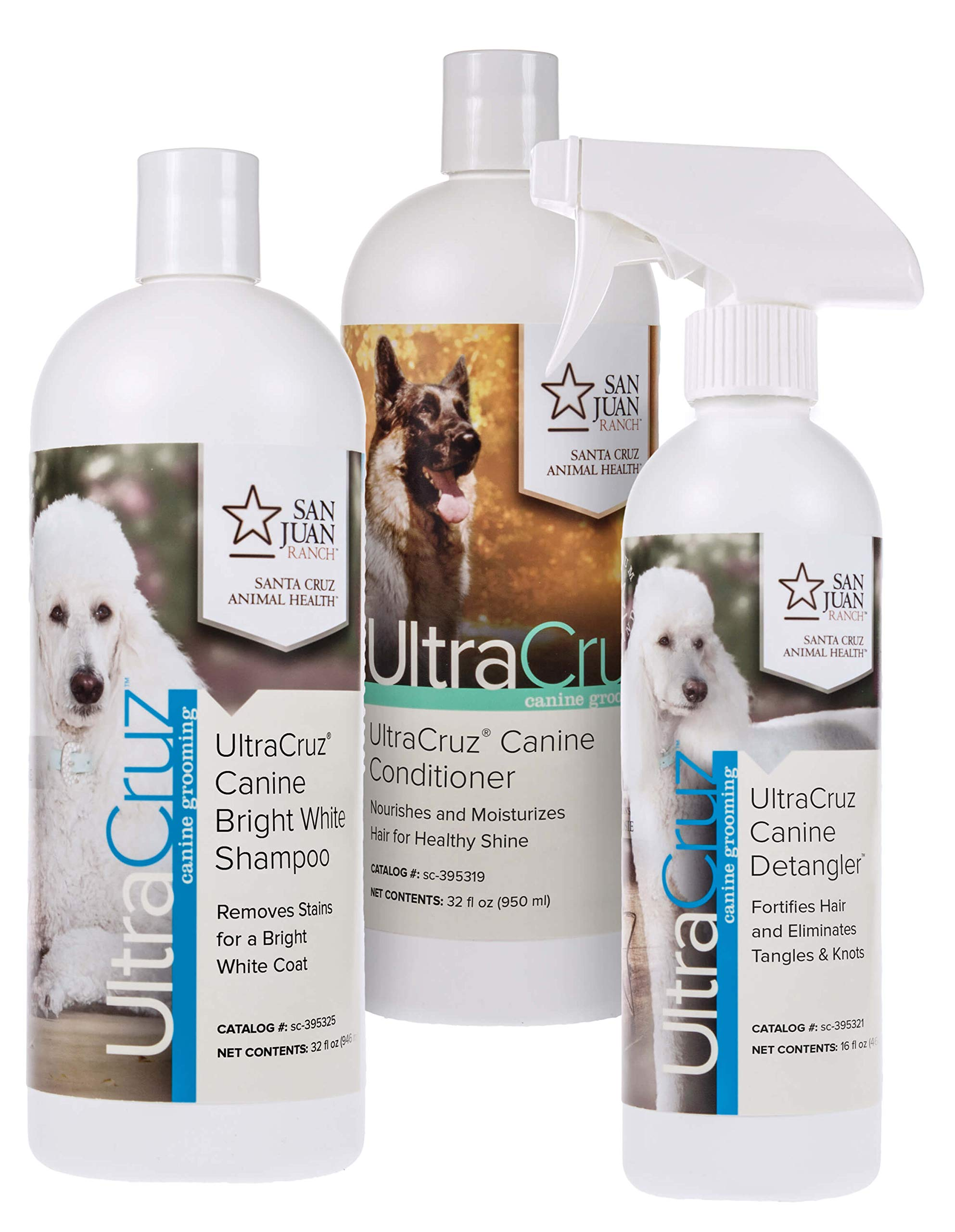 UltraCruz Canine Bright White Dog Shampoo & Conditioner Bundle, 32 oz Each with 16 oz Detangler by UltraCruz