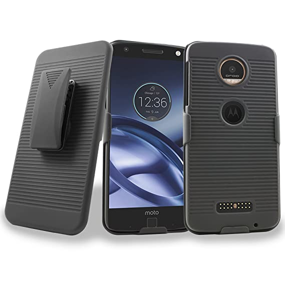 reputable site 2f7d5 24cba Moto Z Case, Moto Z Droid XT1650 Case, Mstechcorp Heavy Duty Holster Hybrid  Armor Case Cover with Kickstand and Belt Swivel Clip For Motorola Moto Z ...