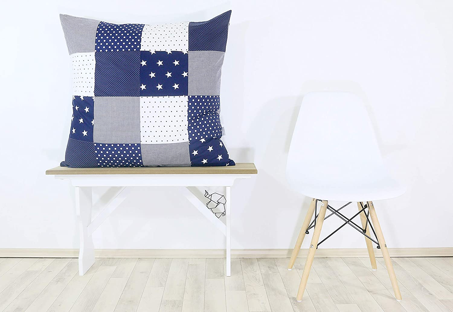 Blue Green Elephants 80 x 80 cm can Also be Used on pram Blankets or Decorative Cushions; Motifs: Anchors, Stars ULLENBOOM//® Baby Quilt Cover