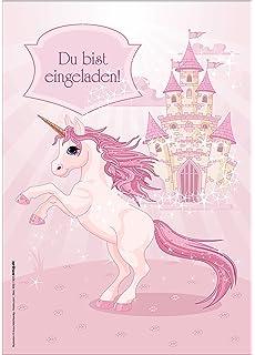 12 Einladungskarten Mädchen Geburtstag Einhorn Unicorn Märchenschloss Rosa  Hellrosa Pink Zauberhaft Illustriert / Geburtstagseinladungen Einladungen