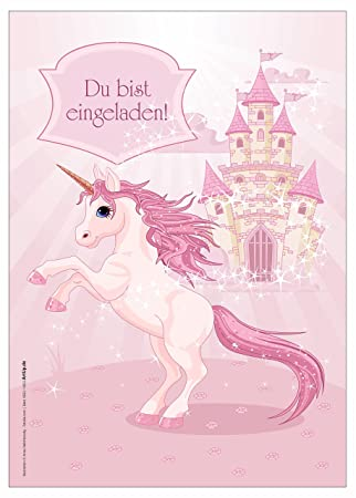 6 Einladungskarten Mädchen Geburtstag Einhorn Unicorn Märchenschloss
