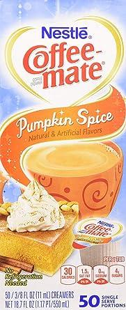 Nestle Pumpkin Spice Coffee Mate Liquid Coffee Creamer Single Serving Tubs Seasonal Flavor 0 37 Fl Oz Pack Of 50 Amazon Com Grocery Gourmet Food