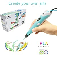 MagicBiu 3D Pen with PLA Filament Refills 3D Drawing Printing Printer Pen Bonus 6 Colors 60 Feet PLA Stencil for Kids and Adults Arts Crafts Model DIY, Compatible with PLA ABS Non-Clogging