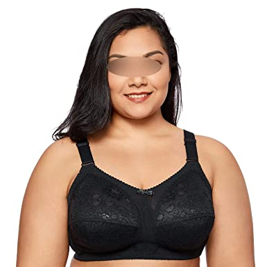 aac42562d09 Image Unavailable. Image not available for. Color: Women's Lace Plus Size  Non-Wired Full Cup Unlined Firm Support Bra ...