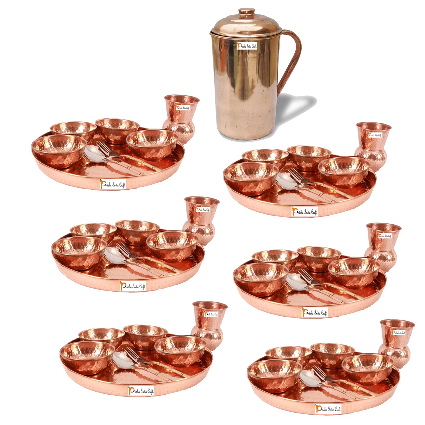 Prisha India Craft Set of 6 Dinnerware Traditional 100% Pure Copper Dinner Set of Thali Plate, Bowls, Glass and Spoon, Dia 12'' With 1 Pure Copper Pitcher Jug - Christmas Gift