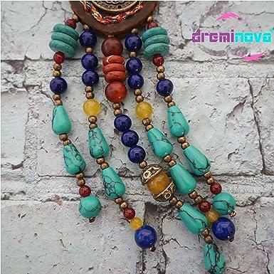 Multicolor Collar de Turquesa con Cuentas de Moda Retro Hecho a Mano Collar de Flecos Turquesa Color Mujeres en Forma de u Cuentas de Madera Collar de Cuentas Hecho a Mano