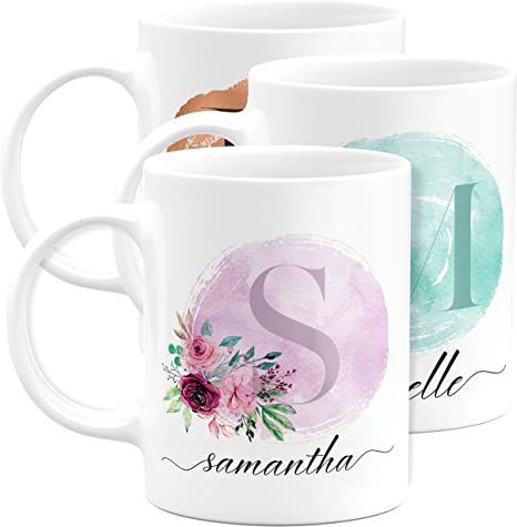 Birthday Present for Her BM05 Engraved Monogram Coffee Cup Mothers Day Gift Personalized 16 oz Ceramic Coffee Mug for Women