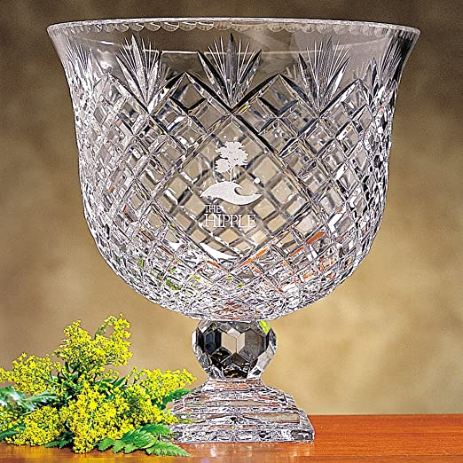 Christmas Tablescape Decor - Gorgeous crystal oxford pedestal bowl with blank engraving panel by Badash