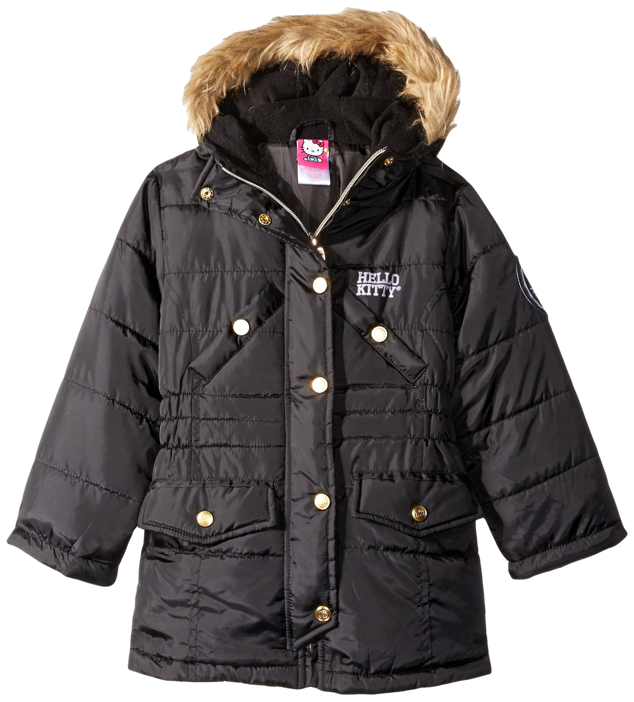 Hello Kitty Big Girls Quilted Long Puffer with Faux Fur Trim Hood, Black, 10
