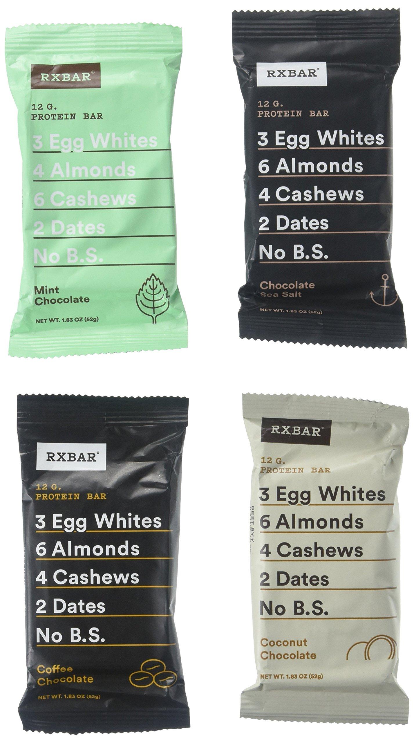 RxBar Real Food Protein Bars Chocolate Sampler (4 Pack). Chocolate Sea Salt, Chocolate Coconut, Chocolate Coffee, Chocolate Mint.