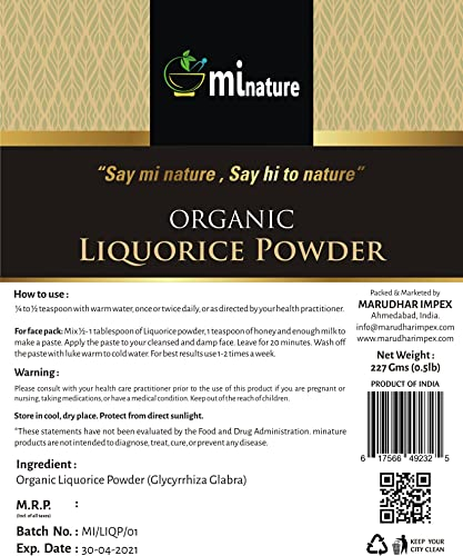 mi nature USDA Certified Organic Licorice Powder Glycyrrhiza glabra Liquorice Mulethi 227g 8 Oz