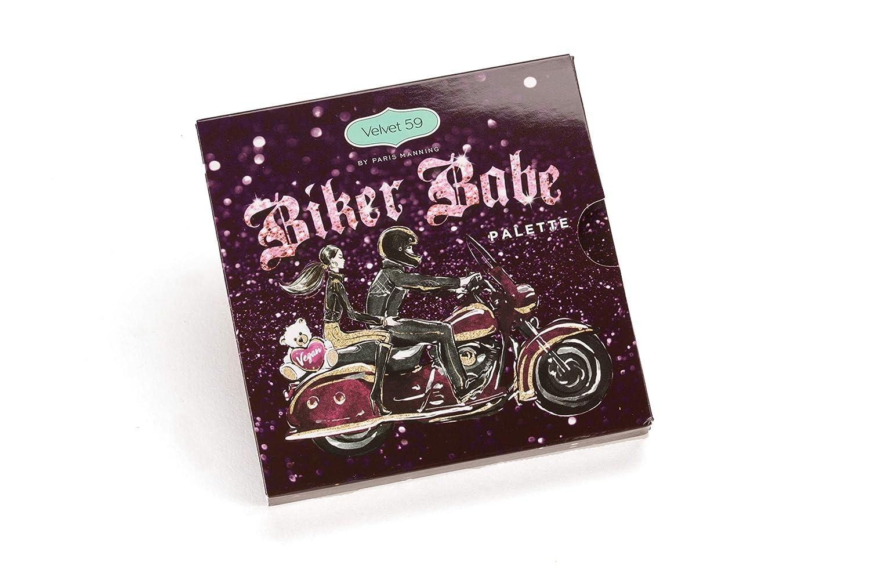 Velvet 59 Biker Babe Eyeshadow Palette, Easy to blend, Textures, Mattes, Natural Look, Creamiest Pigment, Glam, Maximum Pigment, Vegan, Cruelty Free, Deep metallics, Micro Pearls, Easy-to-blend