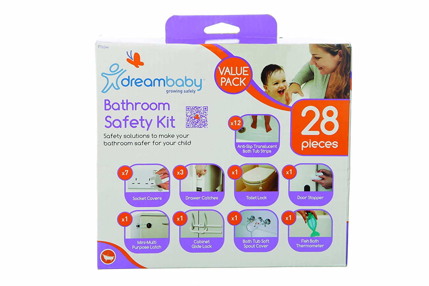 Dreambaby Bathroom Safety Kit Value Pack White, 28 Pieces