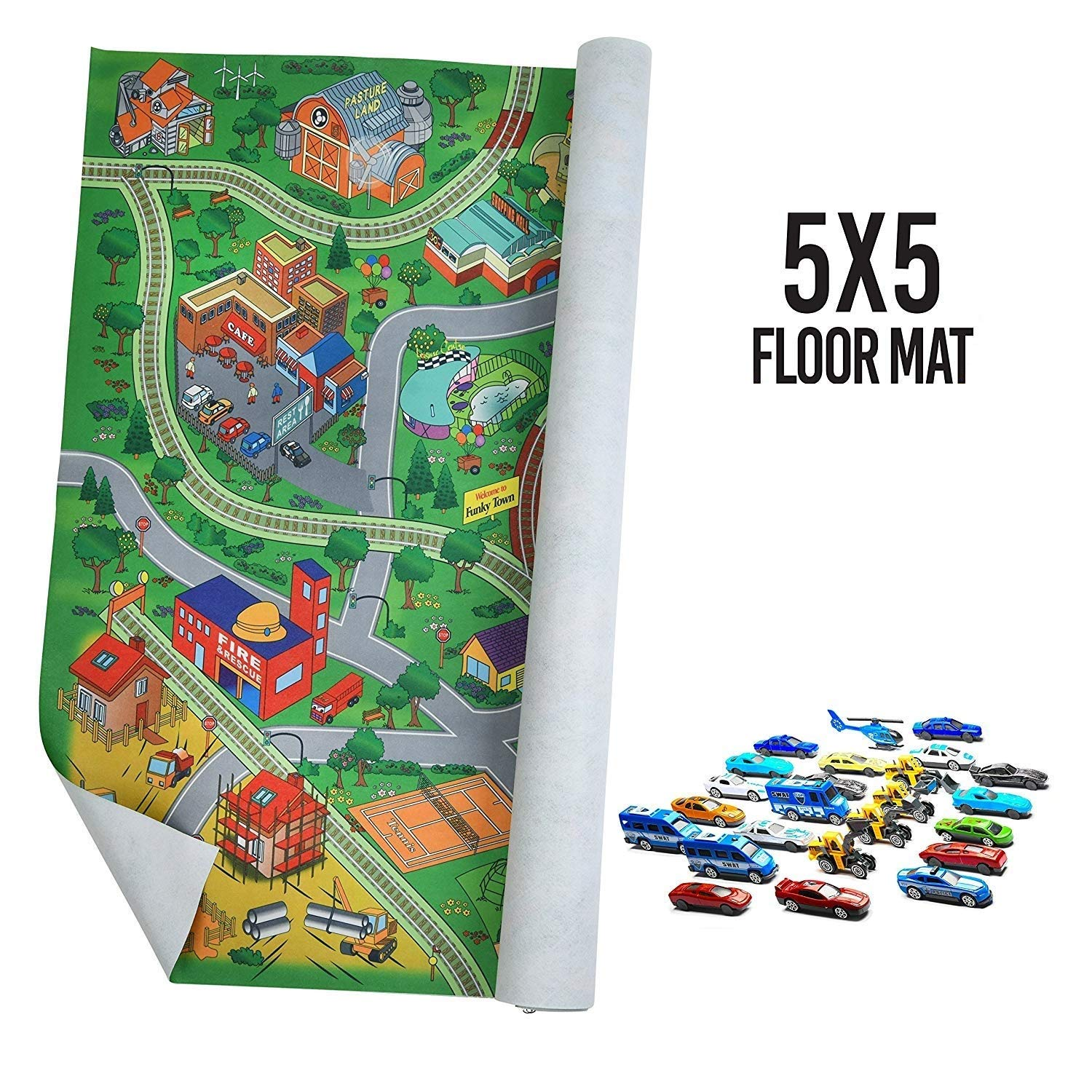 Prextex Giant Fabric Play Mat With 25 Die Cast Toy Cars Included Play Mat Size 5x4 Feet